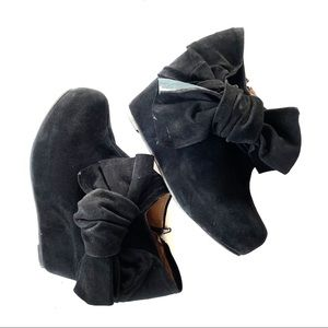 Jeffrey Campbell | Black Suede Ankle Booties Bow